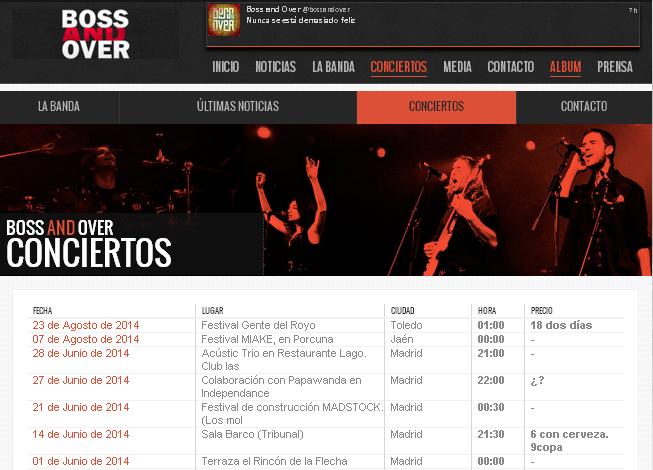 Próximos conciertos de Boss and Over y acceso a web