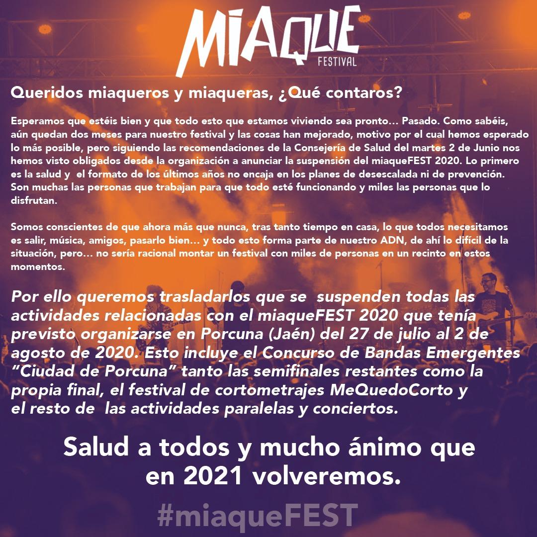 Suspensión del #miaqueFEST 2020
